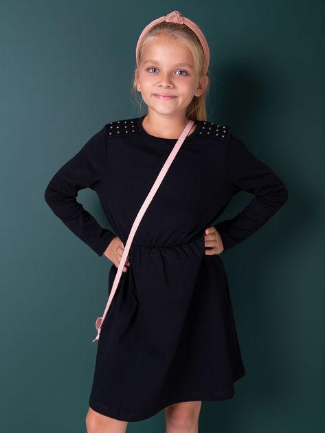 Czarna sukienka dla dziewczynki z perełkami                              zdj.                              3