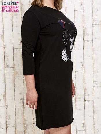 Czarna sukienka dresowa z misiem PLUS SIZE                                  zdj.                                  3