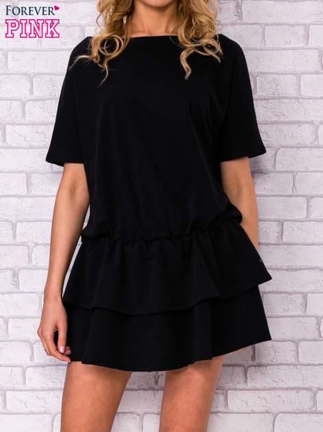 Czarna sukienka dresowa z podwójną falbaną