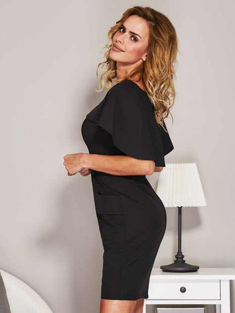 Czarna sukienka koktajlowa z narzutką                              zdj.                              5