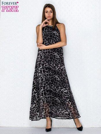 Czarna sukienka maxi w panterę z biżuteryjnym dekoltem                                  zdj.                                  4