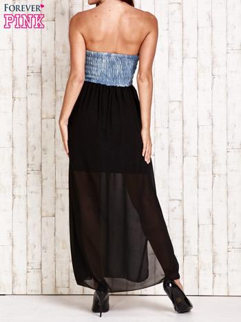 Czarna sukienka maxi z gorsetem z denimu                                  zdj.                                  2