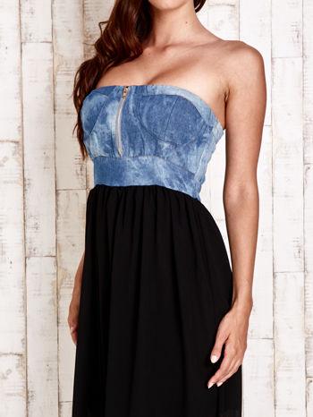 Czarna sukienka maxi z gorsetem z denimu                                  zdj.                                  6