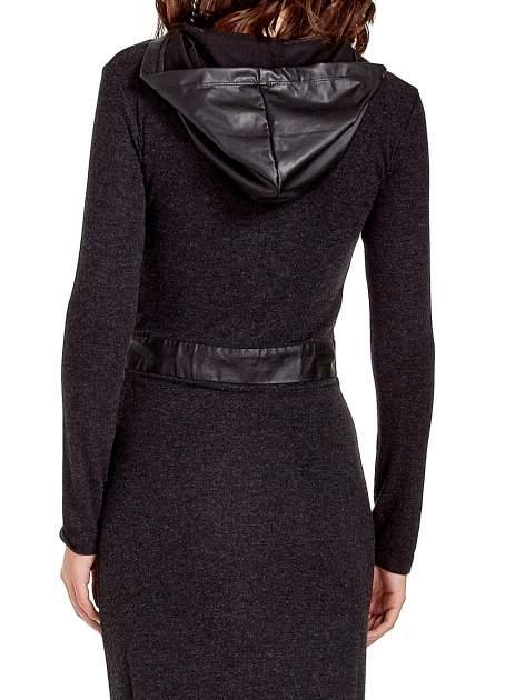Czarna sukienka maxi z kapturem                                  zdj.                                  8