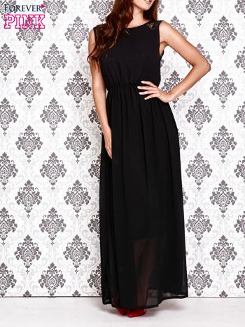 Czarna sukienka maxi z koronkowym tyłem