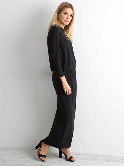Czarna sukienka maxi z wycięciem                              zdj.                              3