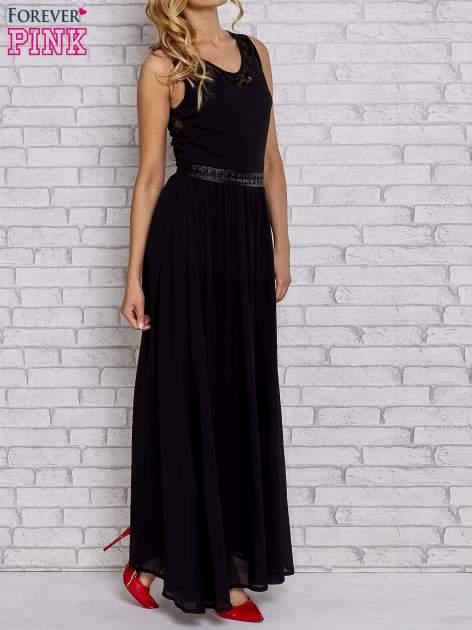 Czarna sukienka maxi ze skórzanym pasem a'la ćwieki                                  zdj.                                  3