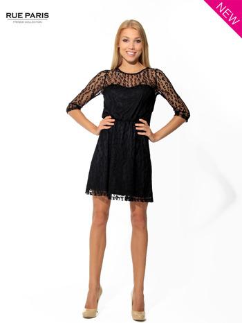 Czarna sukienka pokryta panterkową siateczką                                  zdj.                                  3