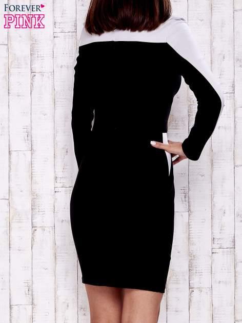 Czarna sukienka two tone z kwadratowym dekoltem                                  zdj.                                  4