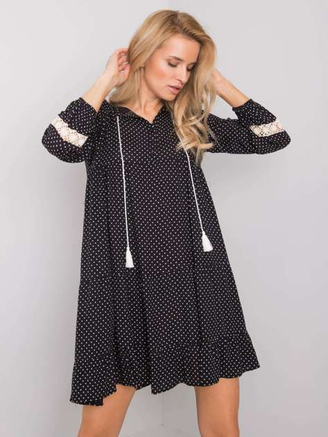 Czarna sukienka w groszki Irvine