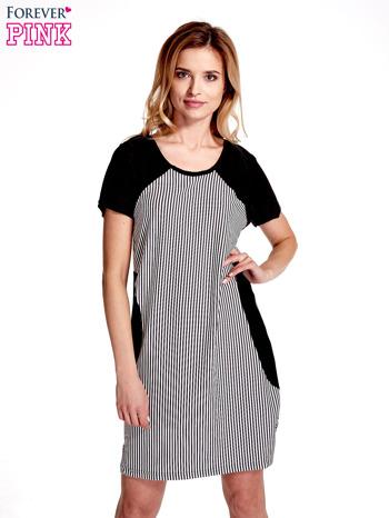 Czarna sukienka w pionowe drobne paski                                  zdj.                                  1