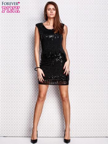 Czarna sukienka z aplikacją z koralików i cekinów                                  zdj.                                  2