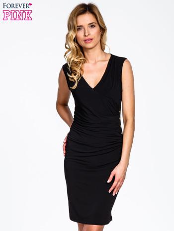 Czarna sukienka z drapowaniem                                  zdj.                                  1