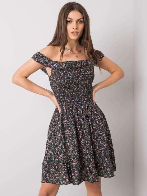 Czarna sukienka z falbaną Lanciano