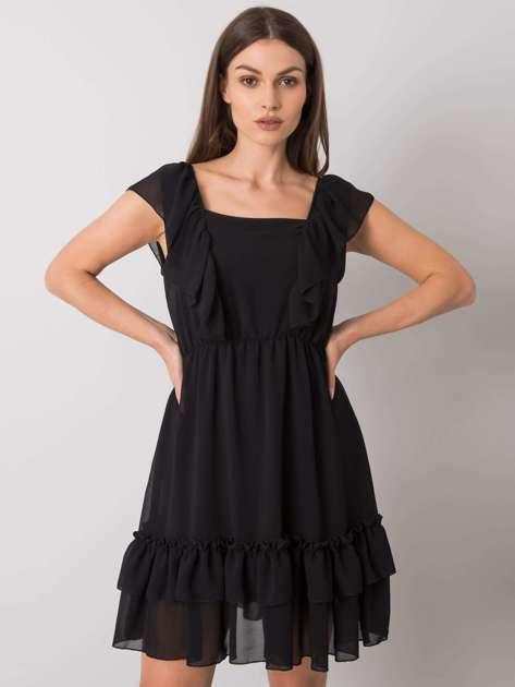 Czarna sukienka z falbanami Safina