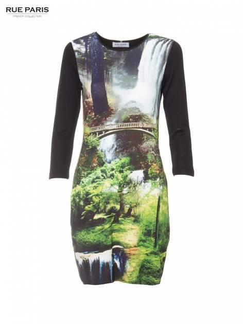 Czarna sukienka z fotograficznym nadrukiem krajobrazu                              zdj.                              5