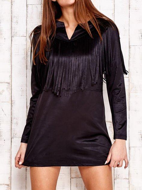 Czarna sukienka z frędzlami                                  zdj.                                  1