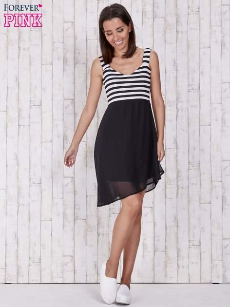 Czarna sukienka z górą w paski                                  zdj.                                  2