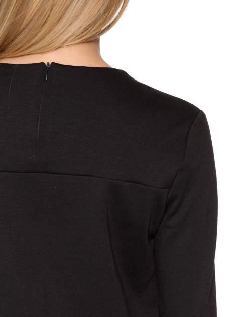 Czarna sukienka z kieszonką i dołem z pikowanej skóry                                  zdj.                                  10