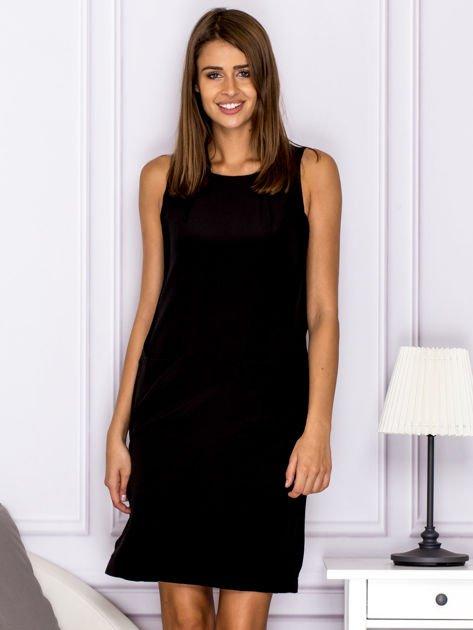 Czarna sukienka z kieszonkami                              zdj.                              1