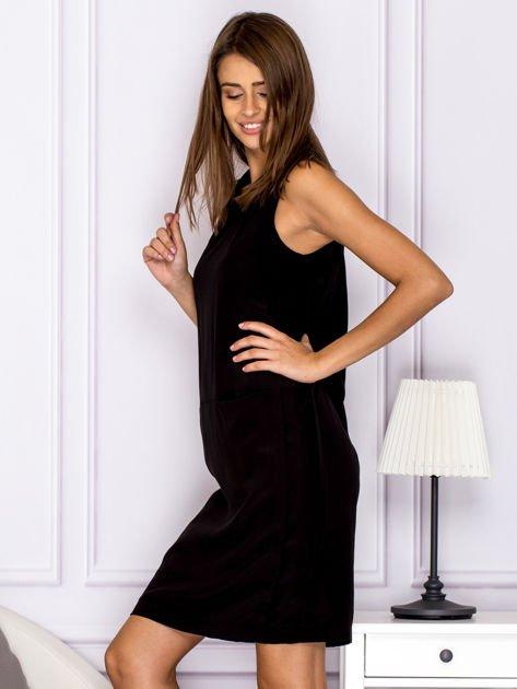 Czarna sukienka z kieszonkami                                  zdj.                                  5