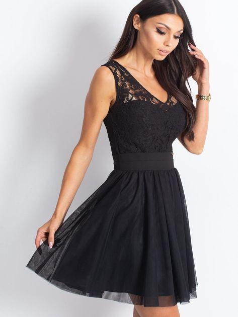 Czarna sukienka z koronkową górą                                  zdj.                                  2