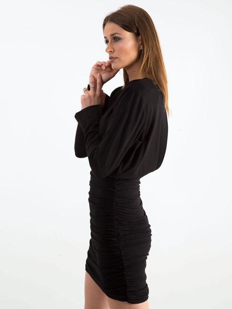Czarna sukienka z marszczeniem BY O LA LA                               zdj.                              3