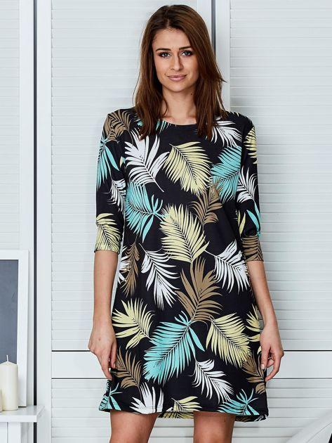 Czarna sukienka z motywem palmowych liści                              zdj.                              1