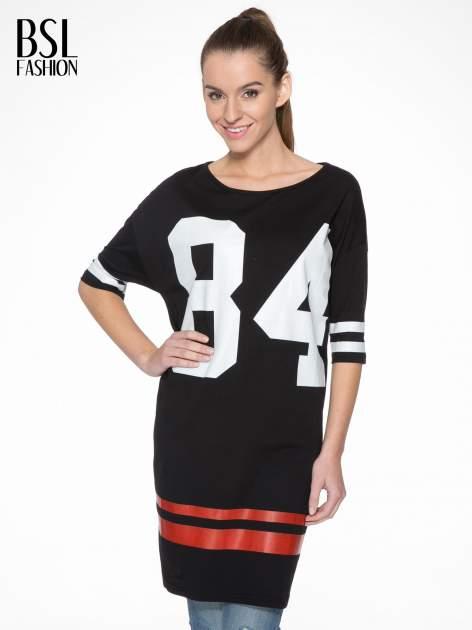 Czarna sukienka z numerem w stylu baseball dress                                  zdj.                                  1