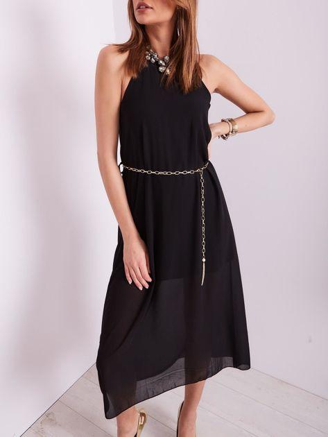 Czarna sukienka z ozdobnym dekoltem                              zdj.                              8