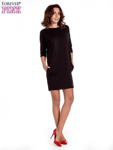 Czarna sukienka z rękawem za łokieć                                  zdj.                                  8