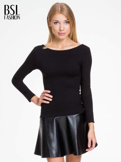 Czarna sukienka z rozkloszowanym dołem ze skóry                                  zdj.                                  1