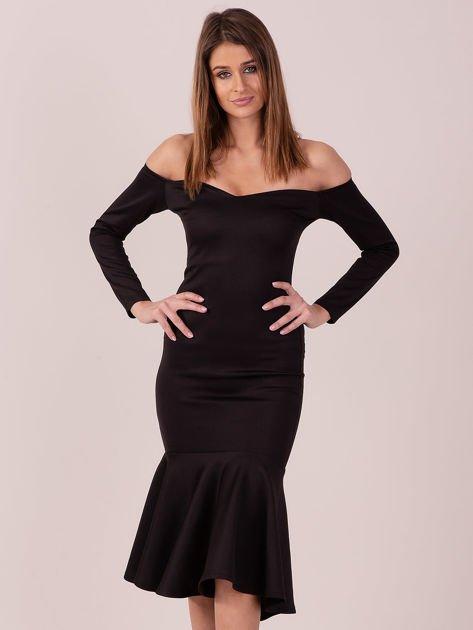 Czarna sukienka z szeroką falbaną na dole                              zdj.                              1