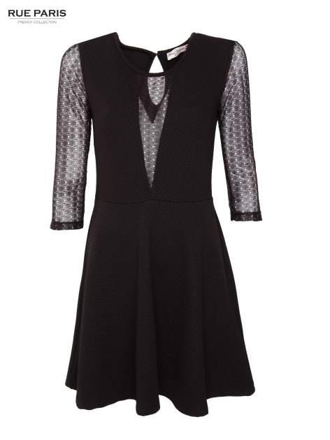 Czarna sukienka z transparentnym głębokim dekoltem                                  zdj.                                  1