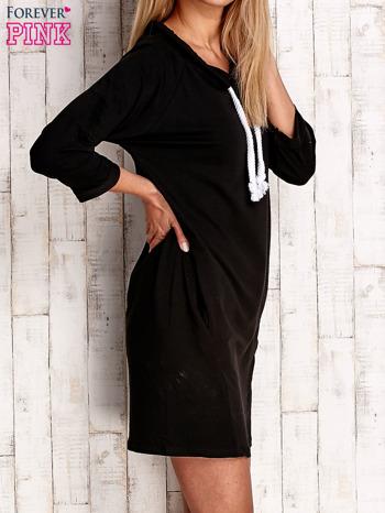 Czarna sukienka z troczkami                                  zdj.                                  3