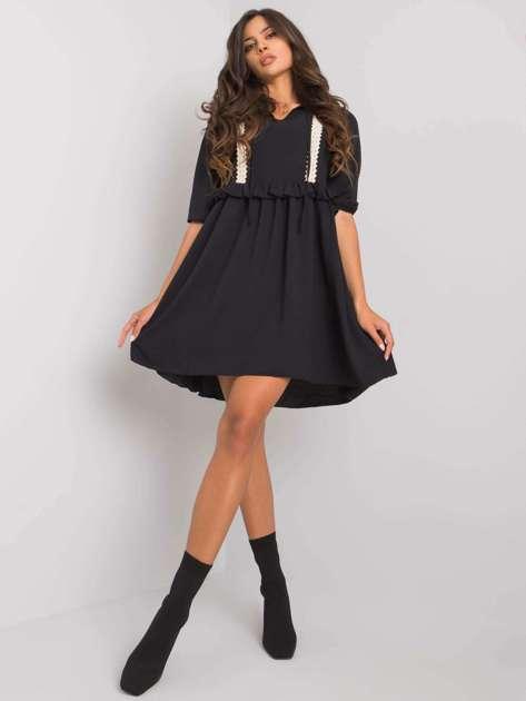 Czarna sukienka z wiskozą Crystal RUE PARIS