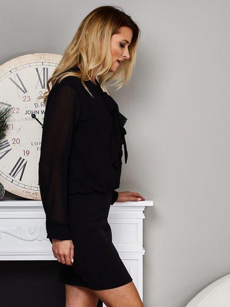 Czarna sukienka z żabotem                               zdj.                              5