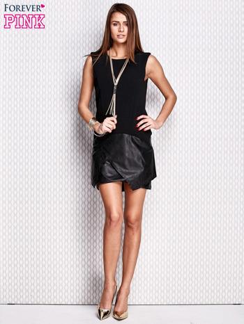 Czarna sukienka ze skórzanym wykończeniem                                  zdj.                                  4