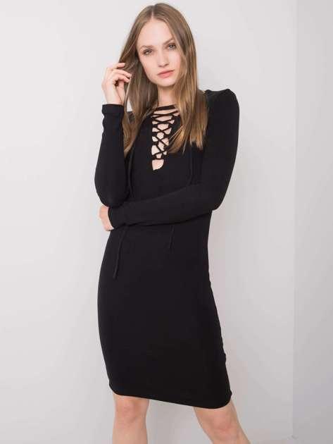 Czarna sukienka ze sznurowaniem Ashlee