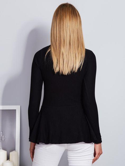 Czarna sznurowana bluzka z baskinką                                  zdj.                                  2
