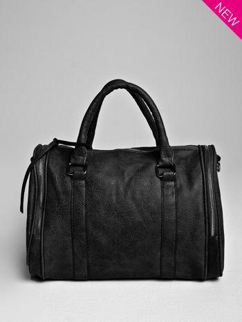 Czarna torba bowling z suwakami                                  zdj.                                  1
