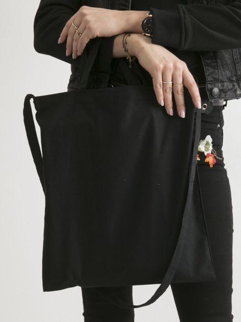Czarna torba ekologiczna z bawełny z napisem                              zdj.                              2
