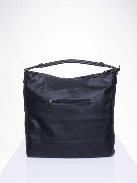 Czarna torba hobo z suwakami po bokach                                  zdj.                                  4