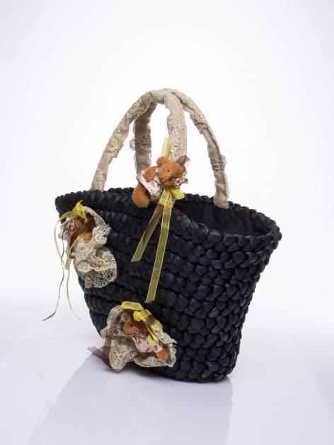 Czarna torba koszyk plażowy z kwiatami                                  zdj.                                  3