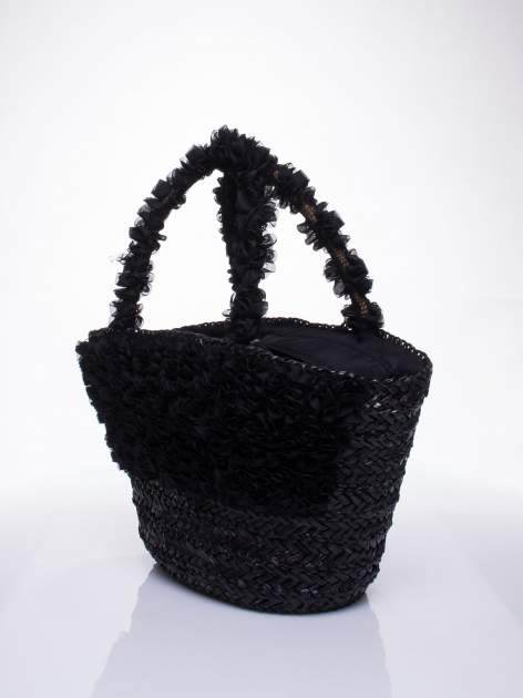 Czarna torba koszyk plażowy z ozdobnymi kwiatami                                  zdj.                                  3