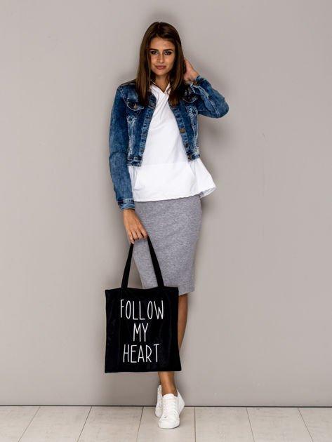 Czarna torba materiałowa FOLLOW MY HEART                                  zdj.                                  4