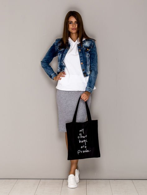 Czarna torba materiałowa MY OTHER BAGS ARE PRADA                              zdj.                              4