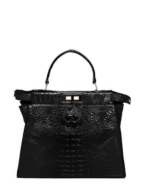 Czarna torba miejska z efektem krokodylej skóry
