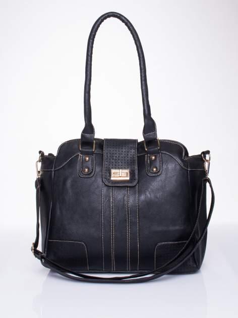 Czarna torba miejska z klapką