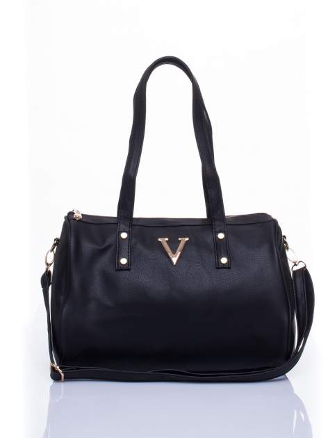 Czarna torba na ramię ze złotym emblematem                                  zdj.                                  1